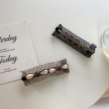 black fashion lace edge pearl hair clip NHWF287423's discount tags
