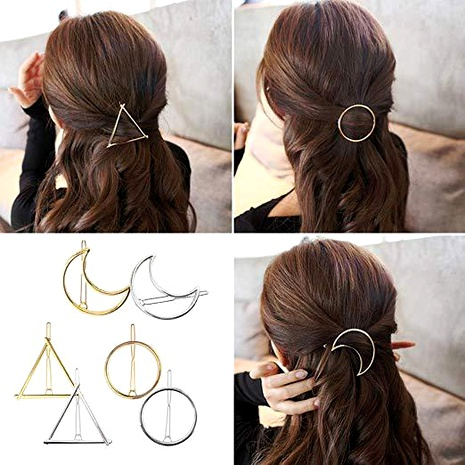 exquisite metal round triangle and moon hair clip 6-piece set  NHGE287648's discount tags