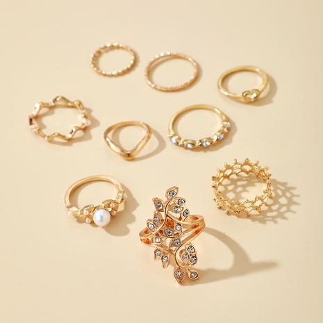 retro diamond crown pearl twist 9-piece set ring NHGY287742's discount tags