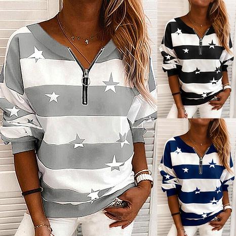 Stripe Printed Long Sleeve Zipper Loose Casual Sweatshirt NHEK289391's discount tags