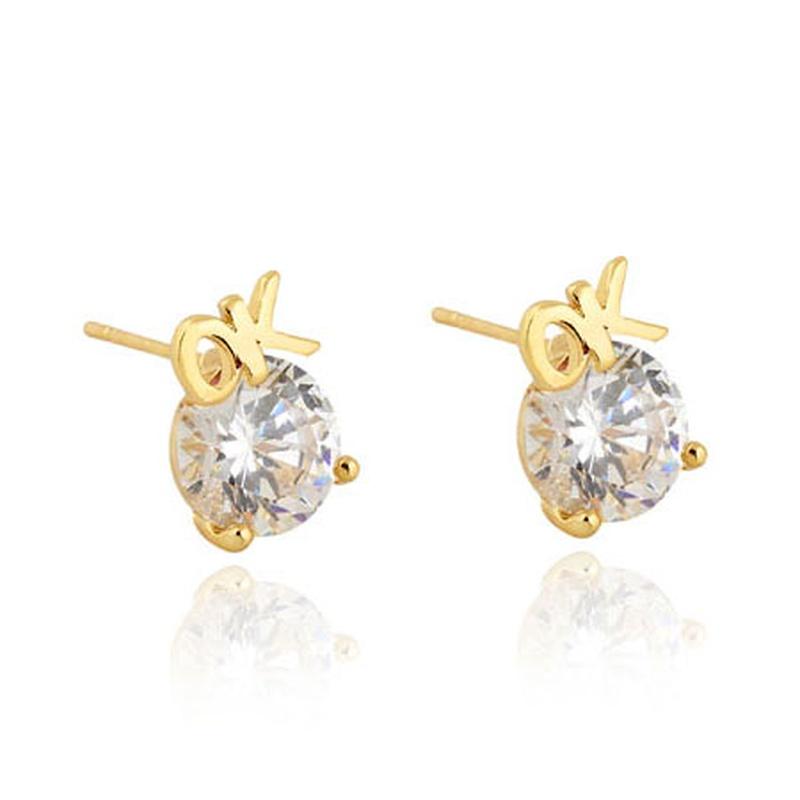 Real gold plated sweet OK letter zircon earrings NHSC289390