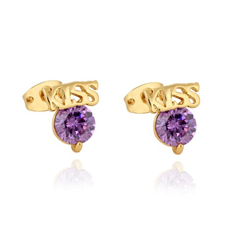 Real gold plated KISS letter zircon earrings NHSC289389's discount tags