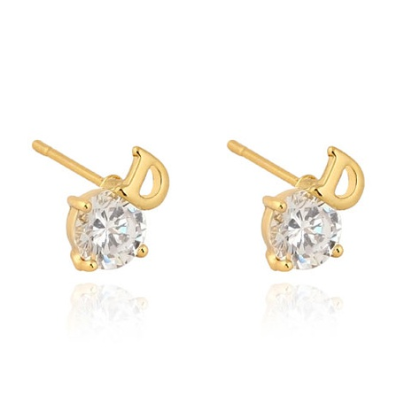 Real gold plated personalized D letter zircon earrings NHSC289383's discount tags