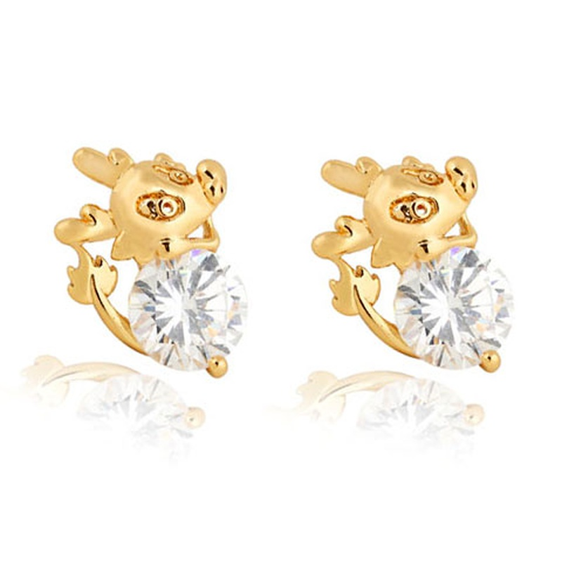 Real gold-plated mouse zircon earrings NHSC289382