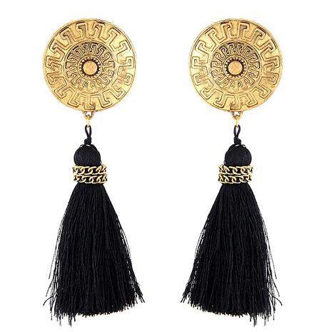 fashion metal large disc tassel earrings NHSC289376's discount tags