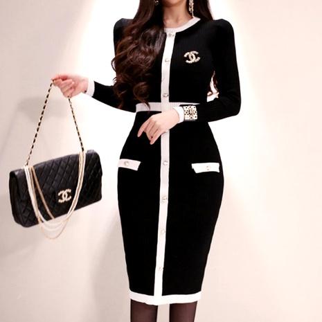 vestido de punto de manga larga con cuello redondo y costuras NHJG290215's discount tags