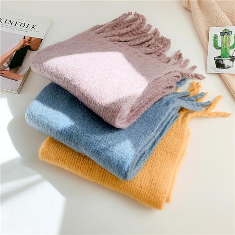 Winter Thickening Imitation Cashmere Pure Color Knitting Tassel Scarf NHCM288195's discount tags