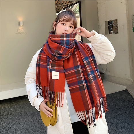 Double-sided large shawl thickened warmth plaid knitted  bib scarf NHCM288202's discount tags
