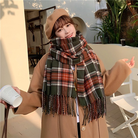 dual-use double-sided large shawl thickened warm plaid knitted  scarf  NHCM288209's discount tags
