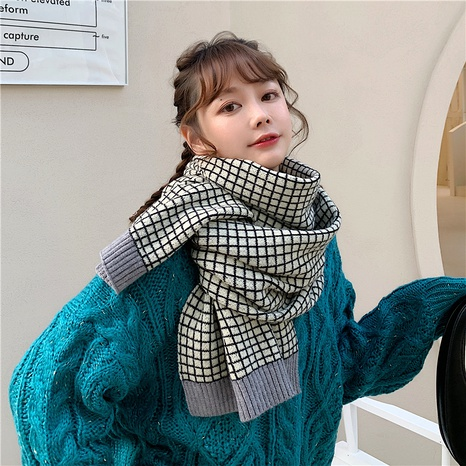 Korean  wild  thick warm knitted wool long plaid scarf NHCM288215's discount tags