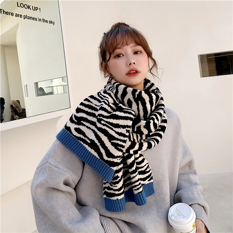 New  zebra pattern color matching knitted wool scarf NHCM288218's discount tags