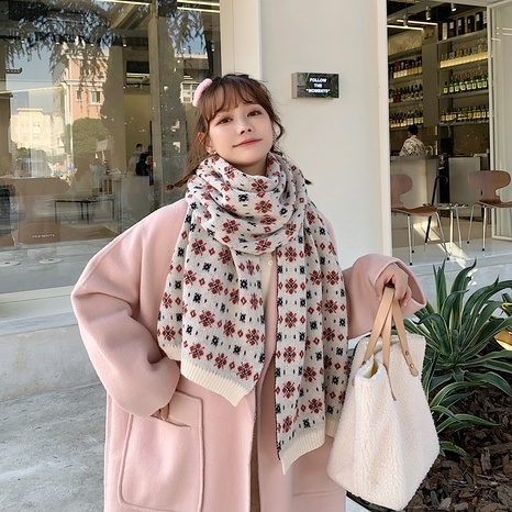 Korean thick shawl dual-use knitted wool scarf  NHCM288221's discount tags