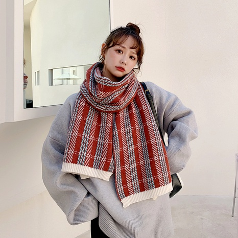 Korean  versatile  warmth plaid knitted wool scarf  NHCM288223's discount tags