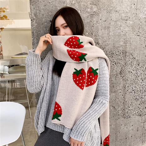 knitted strawberry long small scarf  NHCM288227's discount tags