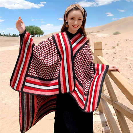 Warm retro thick knitted imitation cashmere long shawl  NHCM288241's discount tags