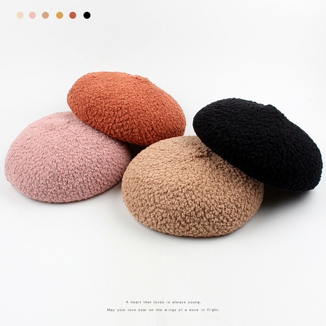 casual solid color fashion retro beret NHXO288375's discount tags