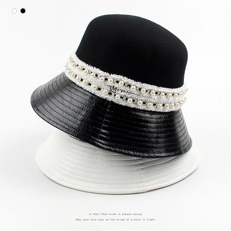 sombrero de pescador de perlas de moda de costura de PU de lana NHXO288377's discount tags