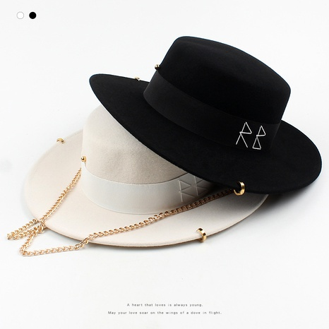 retro embroidery letters golden chain fashion flat top hat NHXO288384's discount tags
