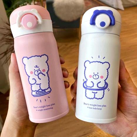 Simple cute bear printing thermal bottle NHtn288455's discount tags