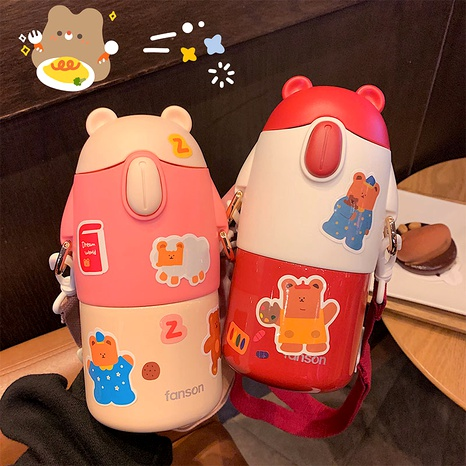 Children's vacuum flask with straws creative cute cartoon water cup  NHtn288487's discount tags