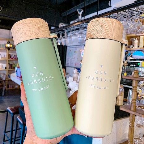 Simple  solid color korean  colorful vacuum flask wood  water cup NHtn288488's discount tags