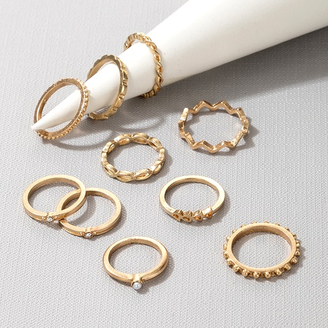 new fashion  diamond and pearl hollow 9-piece ring NHGY289554's discount tags