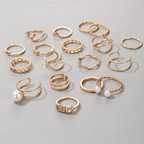 pearl hollow twist geometry super shiny retro fashion ring NHGY289556's discount tags