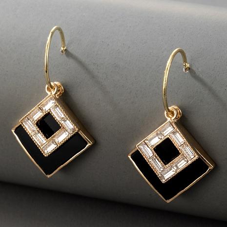 nouvelles boucles d'oreilles carrées géométriques noires simples NHGY289369's discount tags