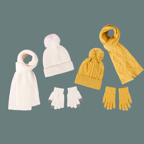 Pure color woolen hat scarf gloves fashion 3-piece set NHTQ288055's discount tags
