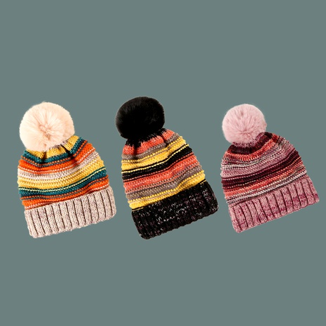 rainbow striped woolen hat NHTQ288085's discount tags