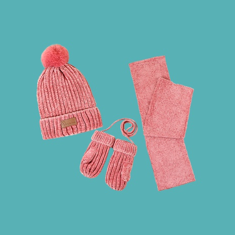 Children's pink hat scarf gloves three-piece set NHTQ288109's discount tags