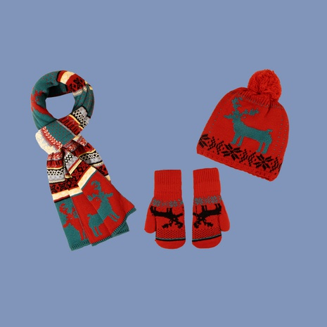 Christmas fawn hat scarf gloves three-piece  NHTQ288117's discount tags