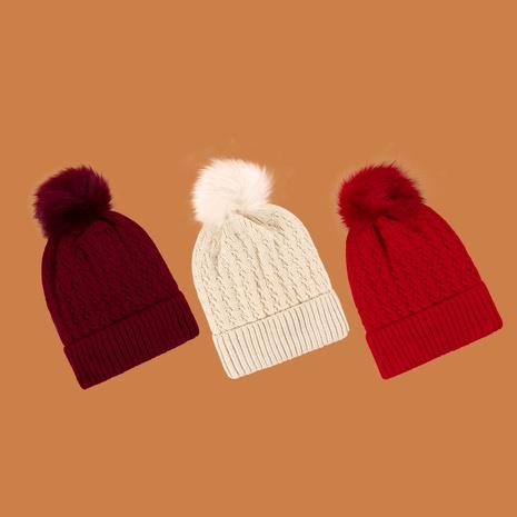 Sombrero de bola de lana con estampado de cáñamo de color puro NHTQ288121's discount tags