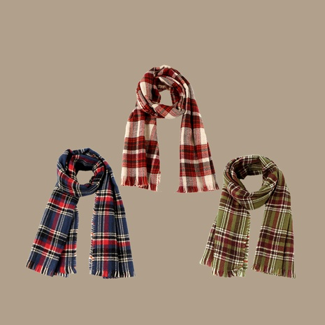 Korean  double-sided plaid scarf  NHTQ288127's discount tags