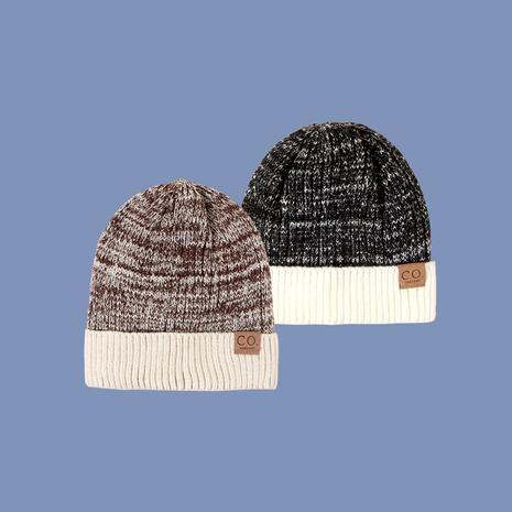 sombrero de lana de dos colores con etiqueta de cuero de moda NHTQ288145's discount tags