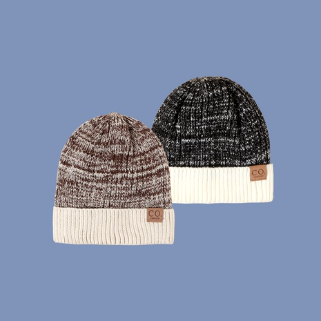 fashion leather label two-color woolen hat NHTQ288145's discount tags
