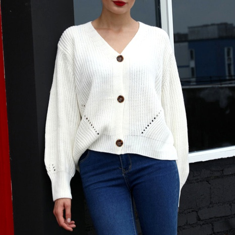 solid color V-neck lantern sleeve knitted cardigan NHJC290206's discount tags