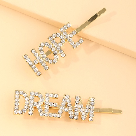 creative simple letter rhinestone hairpin NHNU289359's discount tags