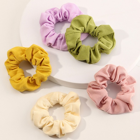 Simple pure color spiral pattern hair scrunchies set NHNU289357's discount tags