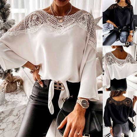 long-sleeved lace chiffon shirt NHJC290190's discount tags