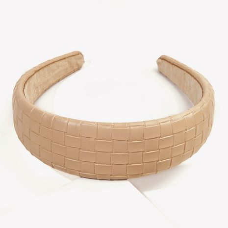 retro  wide-brimmed pu leather square headband  NHGE277636's discount tags