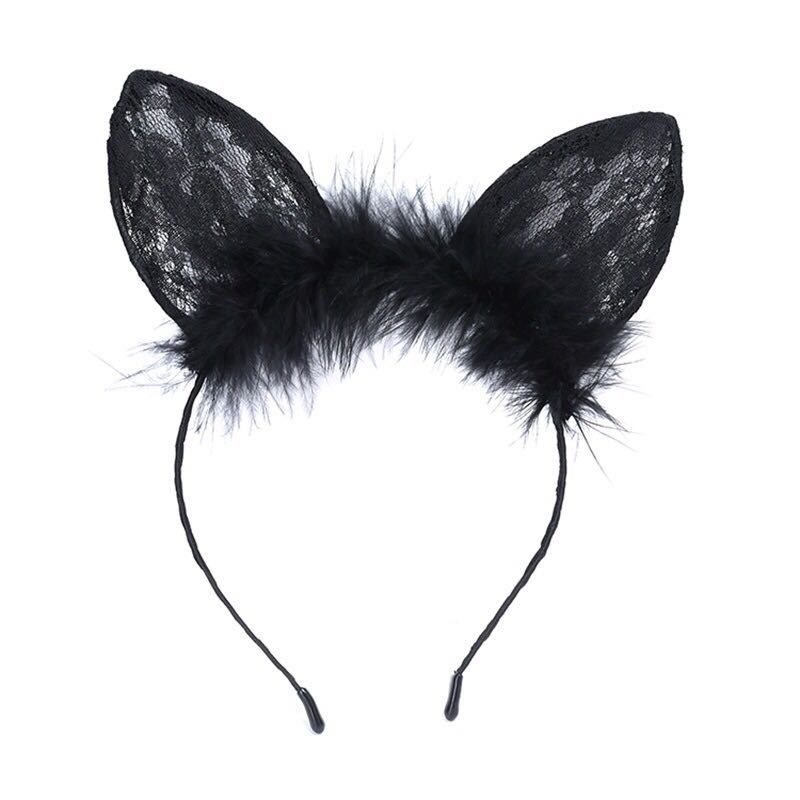 new  feathers  black lace  cat ears headband NHDQ277743
