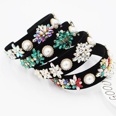New  Baroque diamond-studded geometric pearl casual hair band NHWJ277753's discount tags