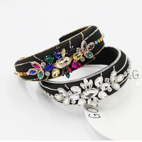 New  Baroque Super Large Wide Edge Thin Sponge Luxury Full Rhinestone Headband  NHWJ277755's discount tags