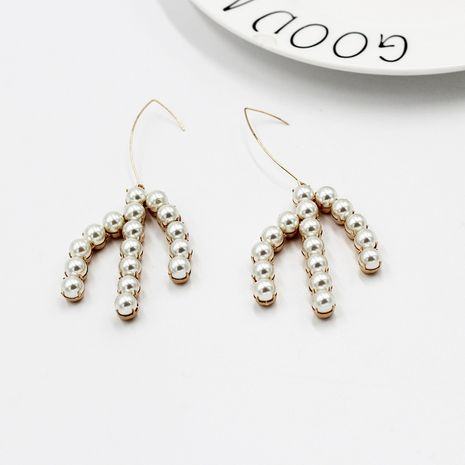 retro pearl leaf metal exaggerated earrings NHWJ277757's discount tags