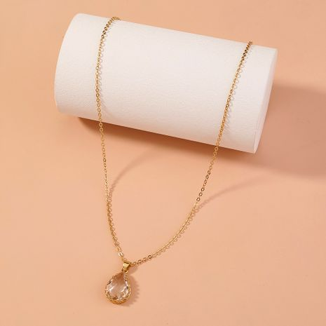 elegant simple transparent drop crystal pendant necklace NHAN277842's discount tags
