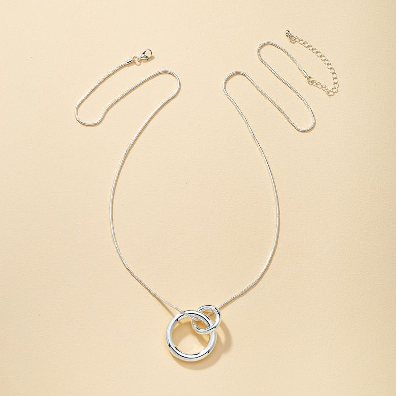 double ring snake bone silver necklace NHQJ277865