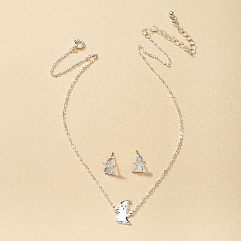 Halloween ghost earrings exaggerated funny necklace earrings set  NHQJ277867