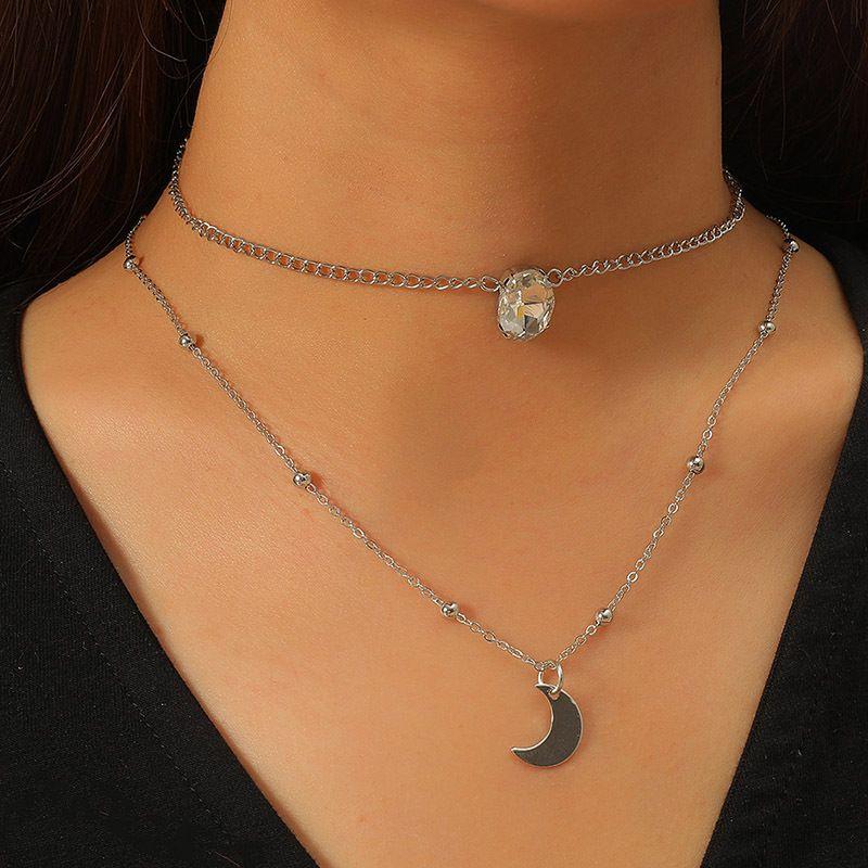 Bohemian multi-layer crystal moon necklace NHLA277873