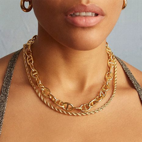 exaggerated gold thick chain punk hip-hop fashion necklace NHLL277882's discount tags